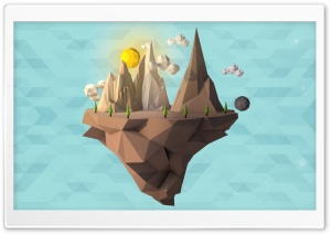 Low Poly Floating Island HD Wide Wallpaper for Widescreen