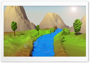 Low Poly Landscape HD Wide Wallpaper for Widescreen