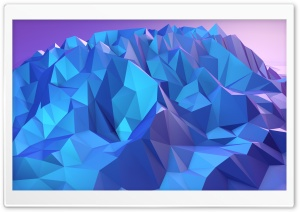 Low Poly Mountain Blue Shades HD Wide Wallpaper for 4K UHD Widescreen desktop & smartphone