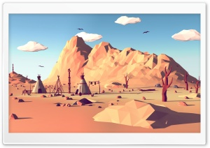 Low Poly Wild West Ultra HD Wallpaper for 4K UHD Widescreen desktop, tablet & smartphone