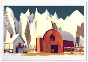 Low Poly Winter Barn v2 HD Wide Wallpaper for Widescreen
