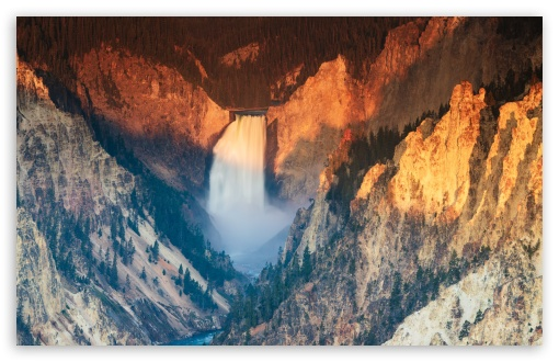 Download Lower Falls of the Yellowstone River Sunrise UltraHD Wallpaper
