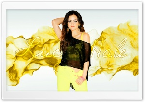 Lucy Hale Black and Yellow HD Wide Wallpaper for Widescreen