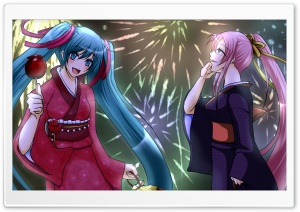 Luka & Miku Fireworks HD Wide Wallpaper for Widescreen