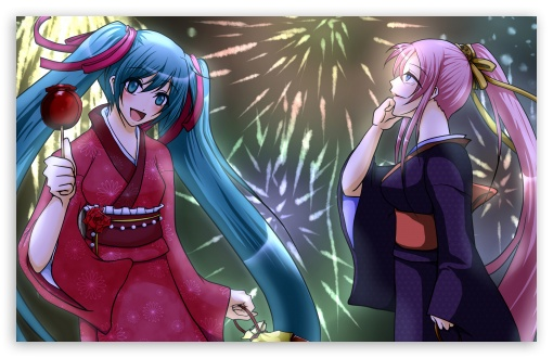 Luka & Miku Fireworks HD wallpaper for Wide 16:10 5:3 Widescreen WHXGA WQXGA WUXGA WXGA WGA ; HD 16:9 High Definition WQHD QWXGA 1080p 900p 720p QHD nHD ; Mobile 5:3 3:2 16:9 - WGA DVGA HVGA HQVGA devices ( Apple PowerBook G4 iPhone 4 3G 3GS iPod Touch ) WQHD QWXGA 1080p 900p 720p QHD nHD ;