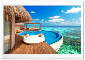Luxury Water Bungalows Maldives HD Wide Wallpaper for Widescreen