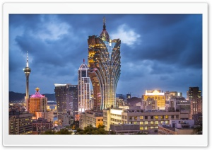 Macau China Grand Lisboa Hotel HD Wide Wallpaper for Widescreen