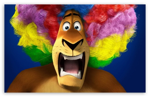 Madagascar 3   Alex's Rainbow Wig HD wallpaper for Wide 16:10 5:3 Widescreen WHXGA WQXGA WUXGA WXGA WGA ; Standard 4:3 5:4 3:2 Fullscreen UXGA XGA SVGA QSXGA SXGA DVGA HVGA HQVGA devices ( Apple PowerBook G4 iPhone 4 3G 3GS iPod Touch ) ; iPad 1/2/Mini ; Mobile 4:3 5:3 3:2 5:4 - UXGA XGA SVGA WGA DVGA HVGA HQVGA devices ( Apple PowerBook G4 iPhone 4 3G 3GS iPod Touch ) QSXGA SXGA ;