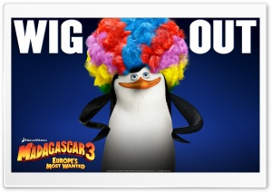 Madagascar 3 Afro Penguin HD Wide Wallpaper for Widescreen