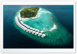 Maldives Island Resort Aerial View HD Wide Wallpaper for 4K UHD Widescreen desktop & smartphone