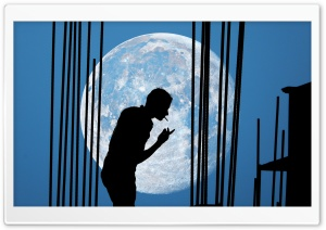 Man and Moon HD Wide Wallpaper for Widescreen