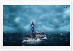 Man, Cat, Sea Storm, Paper Boat Ultra HD Wallpaper for 4K UHD Widescreen desktop, tablet & smartphone