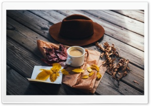 Man Hat, Milk with Coffee, Autumn Leaves, Outdoor HD Wide Wallpaper for 4K UHD Widescreen desktop & smartphone