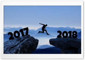 Man Jumping from 2017 to 2018 HD Wide Wallpaper for 4K UHD Widescreen desktop & smartphone