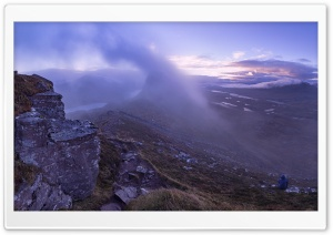 Man, Morning Mist, Mountain, Scotland HD Wide Wallpaper for Widescreen
