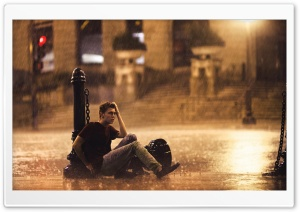 Man Standing in the Rain HD Wide Wallpaper for Widescreen