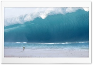 Man vs. Tsunami HD Wide Wallpaper for 4K UHD Widescreen desktop & smartphone