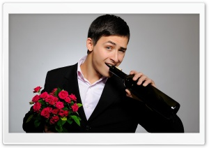 Man With Flowers And Wine Bottle HD Wide Wallpaper for 4K UHD Widescreen desktop & smartphone