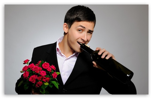 Man With Flowers And Wine Bottle HD wallpaper for Wide 16:10 Widescreen WHXGA WQXGA WUXGA WXGA ; Standard 4:3 5:4 3:2 Fullscreen UXGA XGA SVGA QSXGA SXGA DVGA HVGA HQVGA devices ( Apple PowerBook G4 iPhone 4 3G 3GS iPod Touch ) ; iPad 1/2/Mini ; Mobile 4:3 3:2 5:4 - UXGA XGA SVGA DVGA HVGA HQVGA devices ( Apple PowerBook G4 iPhone 4 3G 3GS iPod Touch ) QSXGA SXGA ;