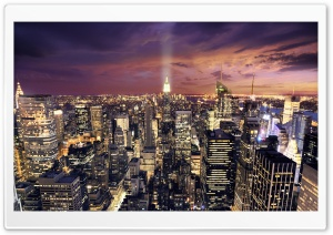 Manhattan Aerial View At Night HD Wide Wallpaper for Widescreen