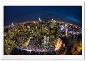 Manhattan At Night HD Wide Wallpaper for Widescreen