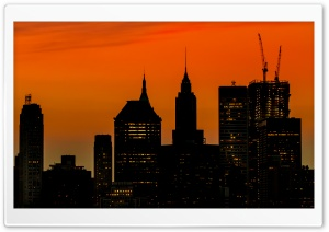 Manhattan Buildings Silhouette at Sunset HD Wide Wallpaper for 4K UHD Widescreen desktop & smartphone