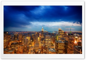 Manhattan Empire State Building Evening HD Wide Wallpaper for Widescreen