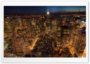 Manhattan Night Life HD Wide Wallpaper for Widescreen