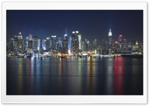 Manhattan Panorama At Night HD Wide Wallpaper for 4K UHD Widescreen desktop & smartphone