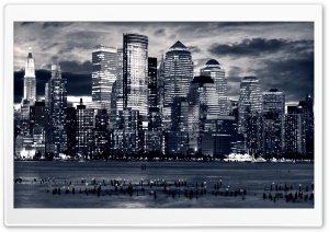 Manhattan Panorama In Black And White HD Wide Wallpaper for 4K UHD Widescreen desktop & smartphone
