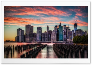 Manhattan Skyline Sunset HD Wide Wallpaper for 4K UHD Widescreen desktop & smartphone