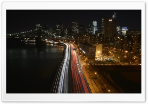 Manhattan Traffic At Night HD Wide Wallpaper for Widescreen