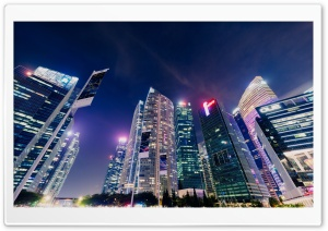 Marina Bay Modern Buildings Night Singapore HD Wide Wallpaper for 4K UHD Widescreen desktop & smartphone