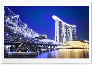 Marina Bay Sands Hotel, Singapore, Asia, Night HD Wide Wallpaper for 4K UHD Widescreen desktop & smartphone