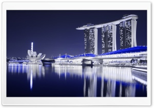 Marina Bay Sands Hotel, Singapore, Night View HD Wide Wallpaper for 4K UHD Widescreen desktop & smartphone