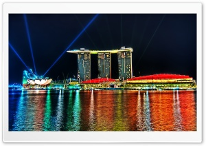 Marina Bay Sands Lights HD Wide Wallpaper for Widescreen