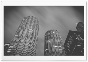 Marina Towers, Chicago, Black and White HD Wide Wallpaper for 4K UHD Widescreen desktop & smartphone