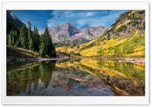 Maroon Lake, Colorado, Aspen Trees, Autumn Ultra HD Wallpaper for 4K UHD Widescreen desktop, tablet & smartphone