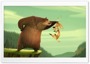 Martin Lawrence As Boog The Grizzly Bear And Ashton Kutcher As Elliot   The One Horned Mule Deer In Columbia's Open Season HD Wide Wallpaper for Widescreen