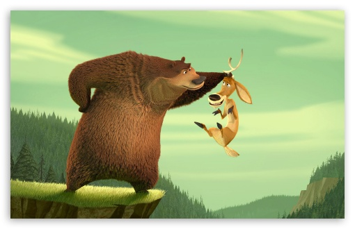 Martin Lawrence As Boog The Grizzly Bear And Ashton Kutcher As Elliot   The One Horned Mule Deer In Columbia's Open Season HD wallpaper for Wide 16:10 5:3 Widescreen WHXGA WQXGA WUXGA WXGA WGA ; HD 16:9 High Definition WQHD QWXGA 1080p 900p 720p QHD nHD ; Standard 4:3 5:4 3:2 Fullscreen UXGA XGA SVGA QSXGA SXGA DVGA HVGA HQVGA devices ( Apple PowerBook G4 iPhone 4 3G 3GS iPod Touch ) ; Tablet 1:1 ; iPad 1/2/Mini ; Mobile 4:3 5:3 3:2 16:9 5:4 - UXGA XGA SVGA WGA DVGA HVGA HQVGA devices ( Apple PowerBook G4 iPhone 4 3G 3GS iPod Touch ) WQHD QWXGA 1080p 900p 720p QHD nHD QSXGA SXGA ;