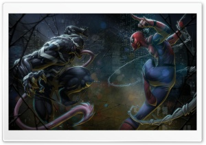 Marvel Comics Spider-Man vs Venom artwork HD Wide Wallpaper for 4K UHD Widescreen desktop & smartphone