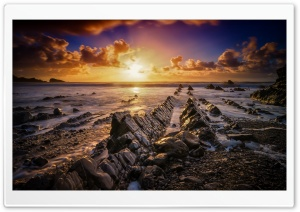 Marvelous Rock Formations In The World, Devon, Sunset Ultra HD Wallpaper for 4K UHD Widescreen desktop, tablet & smartphone