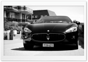 Maserati Gran Turismo Black and White HD Wide Wallpaper for 4K UHD Widescreen desktop & smartphone