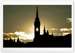 Matthias Church Silhouette HD Wide Wallpaper for Widescreen