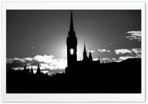 Matthias Church Silhouette BW HD Wide Wallpaper for Widescreen