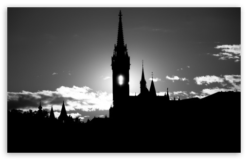 Matthias Church Silhouette BW HD wallpaper for Wide 16:10 5:3 Widescreen WHXGA WQXGA WUXGA WXGA WGA ; Standard 4:3 5:4 3:2 Fullscreen UXGA XGA SVGA QSXGA SXGA DVGA HVGA HQVGA devices ( Apple PowerBook G4 iPhone 4 3G 3GS iPod Touch ) ; iPad 1/2/Mini ; Mobile 4:3 5:3 3:2 16:9 5:4 - UXGA XGA SVGA WGA DVGA HVGA HQVGA devices ( Apple PowerBook G4 iPhone 4 3G 3GS iPod Touch ) WQHD QWXGA 1080p 900p 720p QHD nHD QSXGA SXGA ;