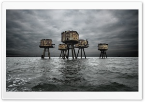 Maunsell Forts In The Thames Estuary, England HD Wide Wallpaper for Widescreen