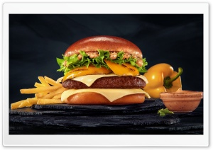 McDonalds Burger and Fries HD Wide Wallpaper for 4K UHD Widescreen desktop & smartphone