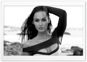 Megan Fox Black And White HD Wide Wallpaper for Widescreen