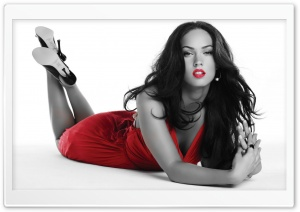 Megan Fox in Red Dress HD Wide Wallpaper for Widescreen